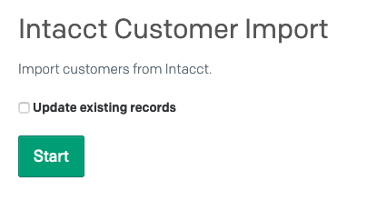 Start Intacct Customer Import