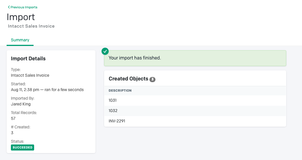 Intacct Invoice Import Finished