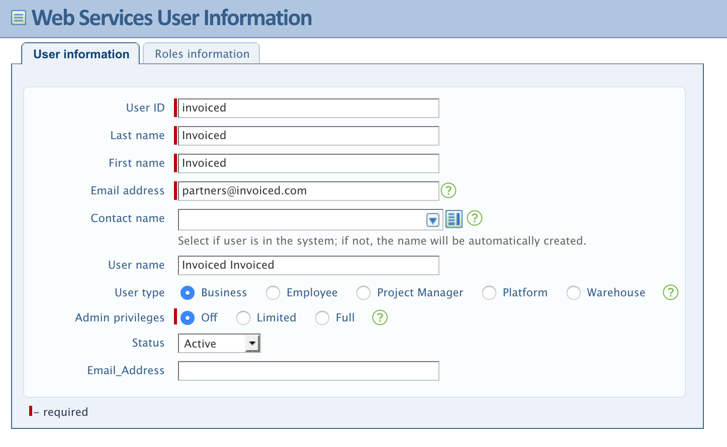 Intacct Web Services User Setup