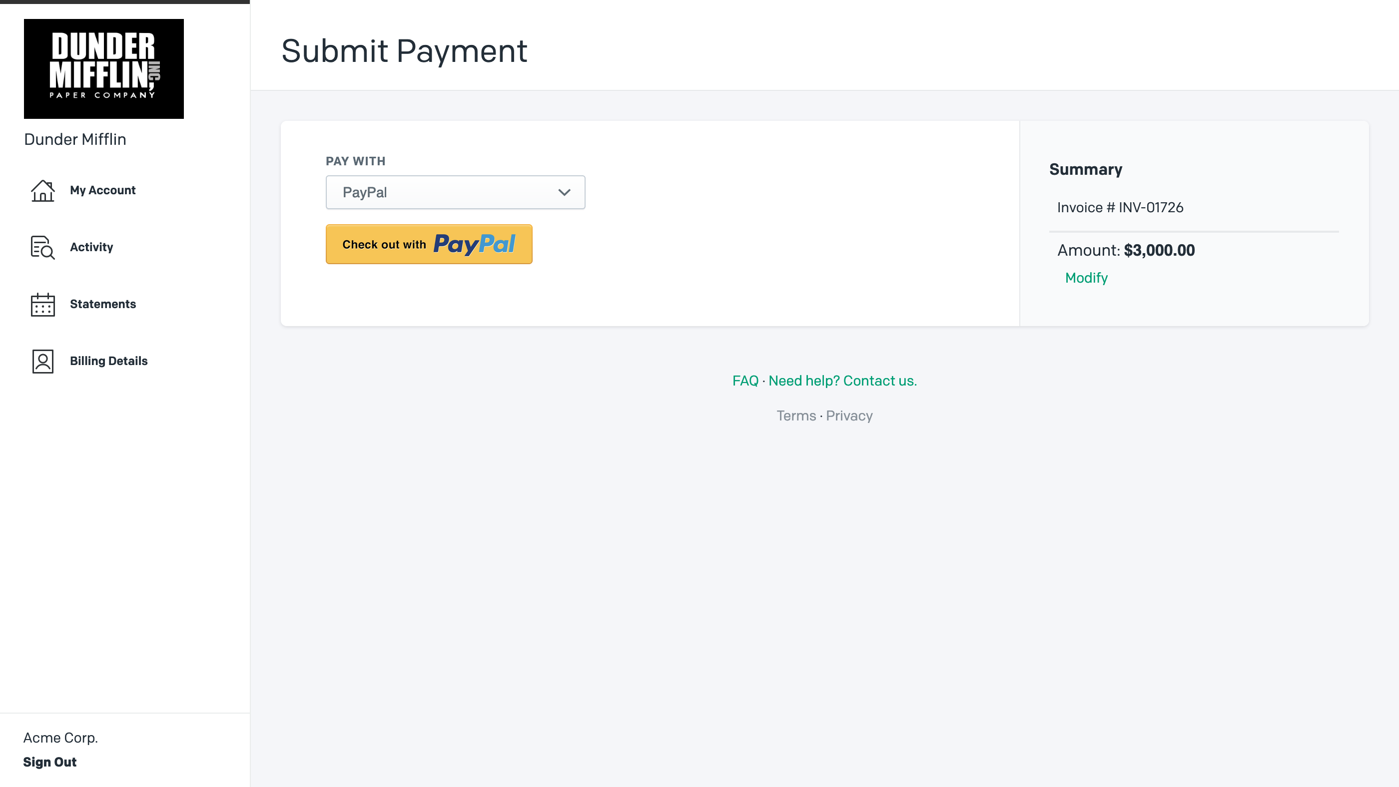 Pay Invoice with PayPal